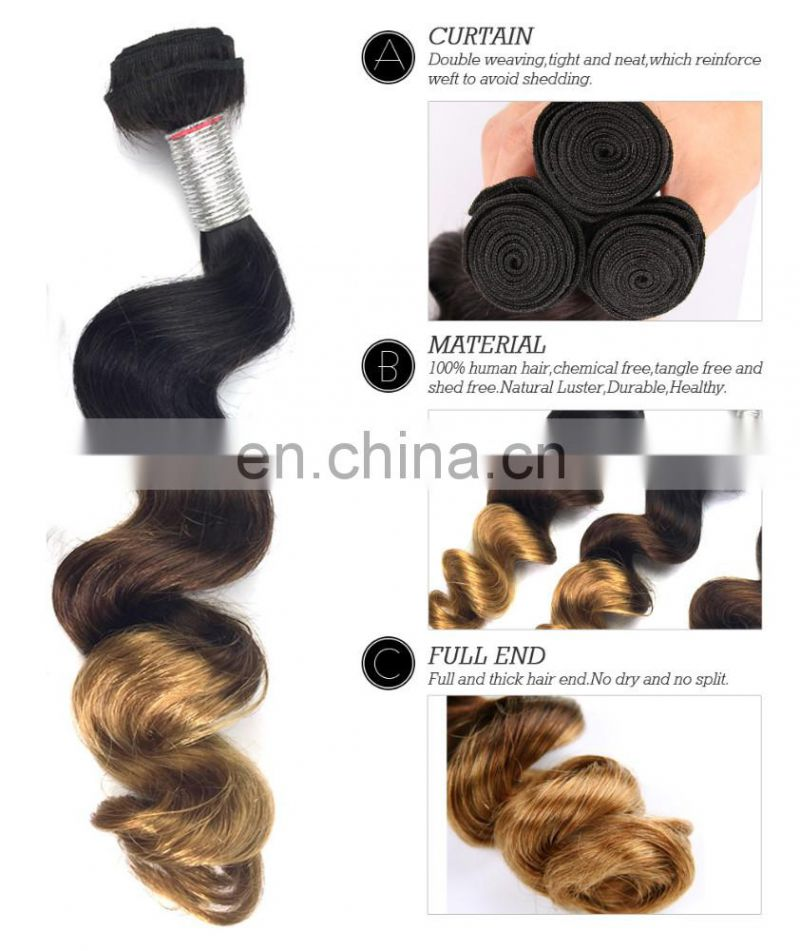 New arrival full cuticle malaysian virgin 3 tone color, loose wave.