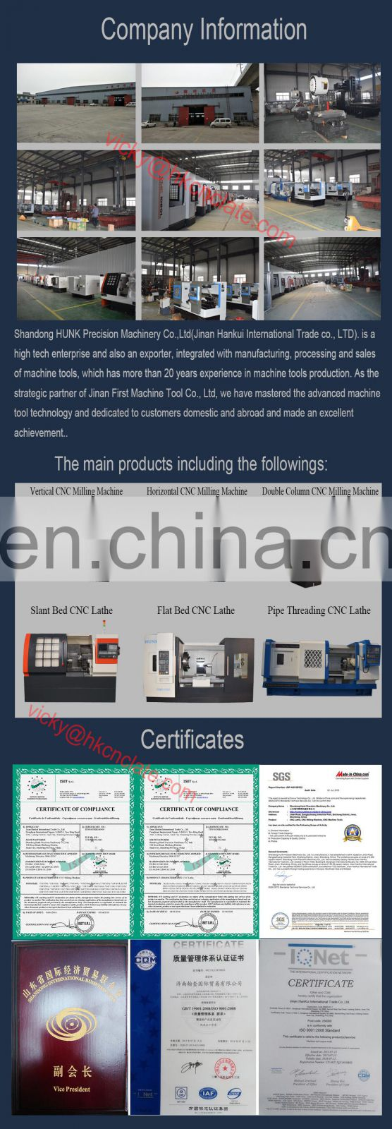 Taiwan Spindle ATC And CTS System Vertical CNC Milling Machine For Metal/Alloy/Steel Parts Machining