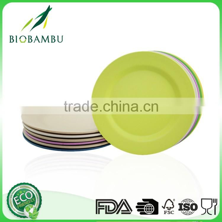 Pretty design Round Portable bamboo fiber hotel used dinner plates