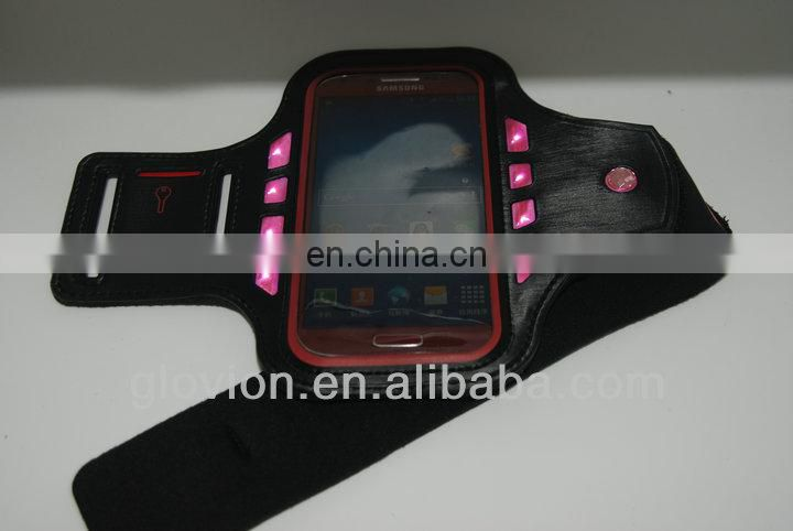 Nylon Flashing led armband glow luminescent safety sport armband flashing light phone armband