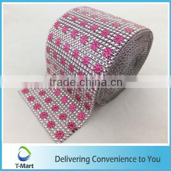 Decorative plastic rhinestone mesh trimming with flower for garment/ornament