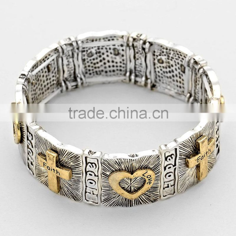 Religious message stretch bracelet embossed cross heart bracelet- faith hope lave
