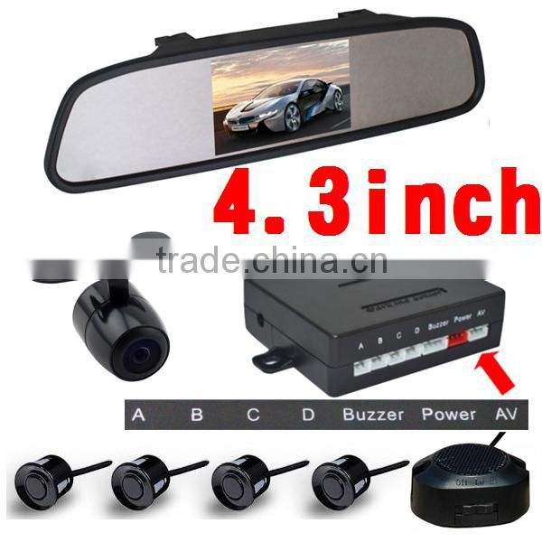 Facotory Newest car parking sensor system with 4.3inch mirror monitor and reversing camera