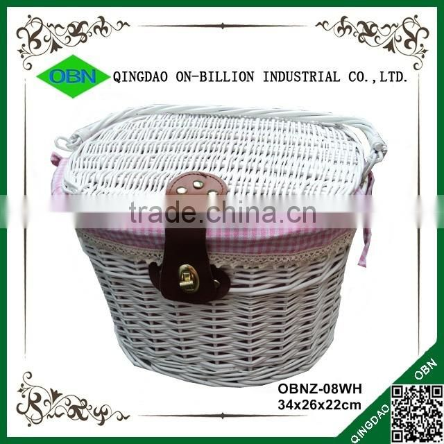 White wicker portable willow bicycle basket with lid with liner