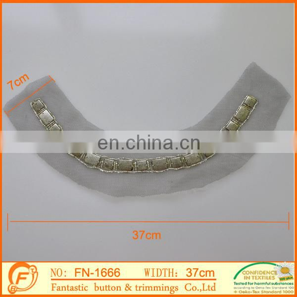 7cm wide metal collar trim on the mesh for lady