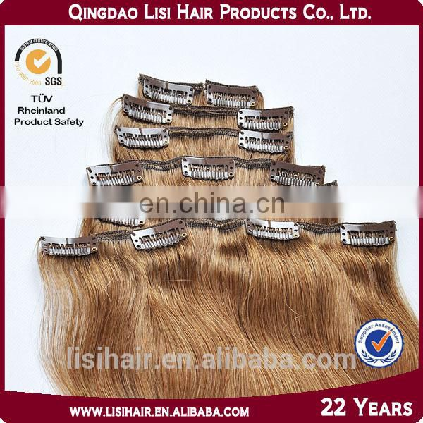 Unprocessed Wholesale Cheapest Human Hair Extension Colorful Full Head Clip In Hair Extensions