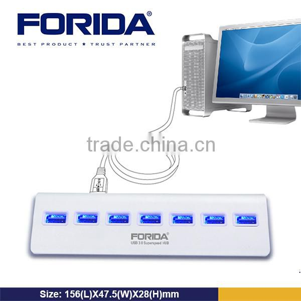 Forida 2014 hot selling aluminum alloy 7 port usb 3.0 hub with power adapter 5V/2A support fast charging