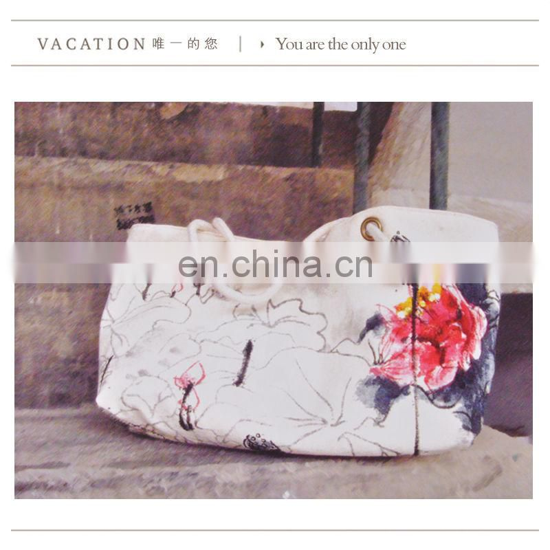 Canvas printing beautiful ladies handbags from China supplier