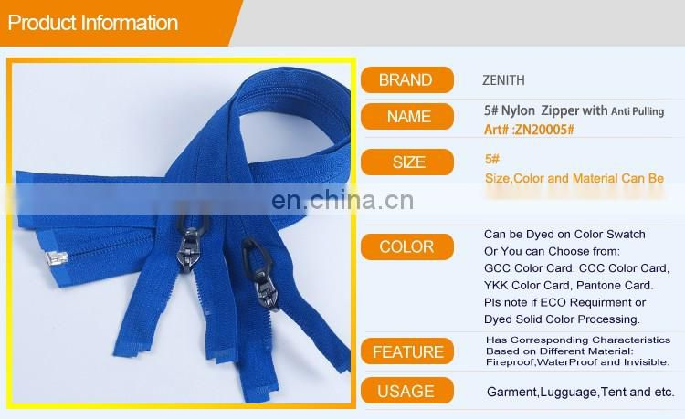 Nylon Zipper Anti Pull Customized by Zipper Manufacturer ZN20005