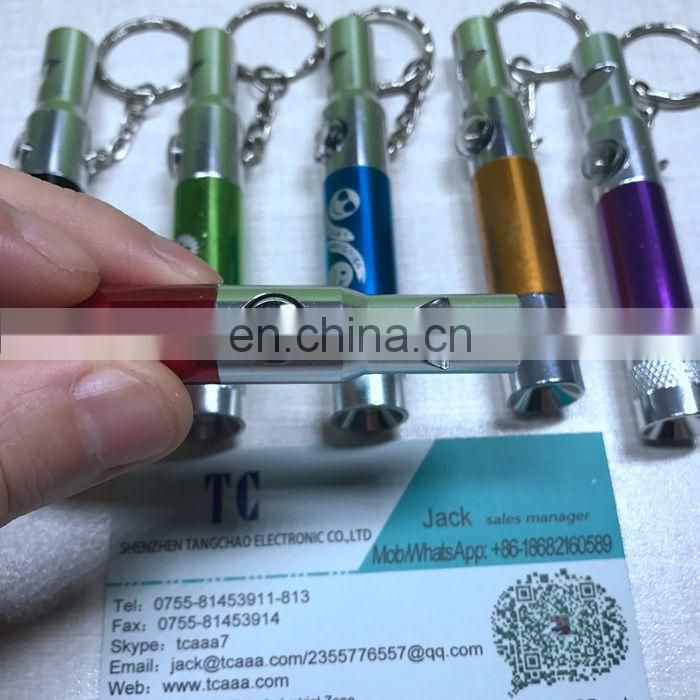 Wholesale price portable flashing compass whistle LED keychain