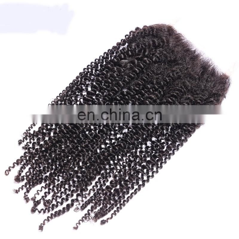 7A Grade Brazilian Curly Closure Natural Color 4x4 Kinky Curly Lace Closure Brazilian Human Weave Hair Dubai Closure