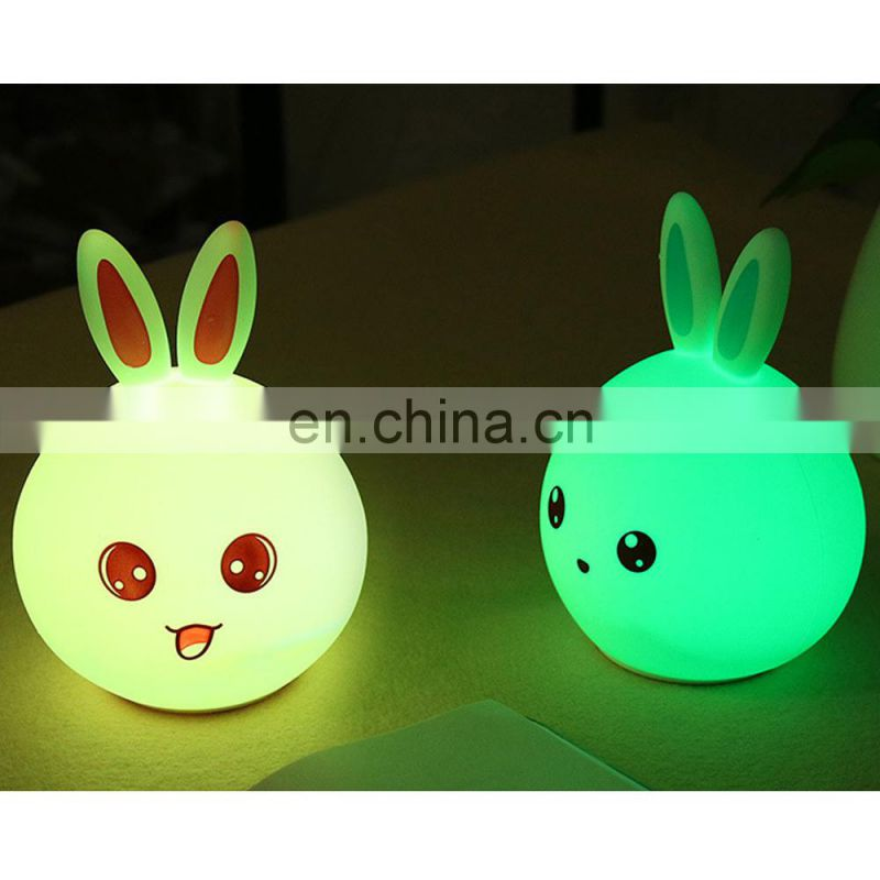 Hot Selling Lovely Rabbit Silicone Night Lamp USB Rechargeable Colorful Led Light