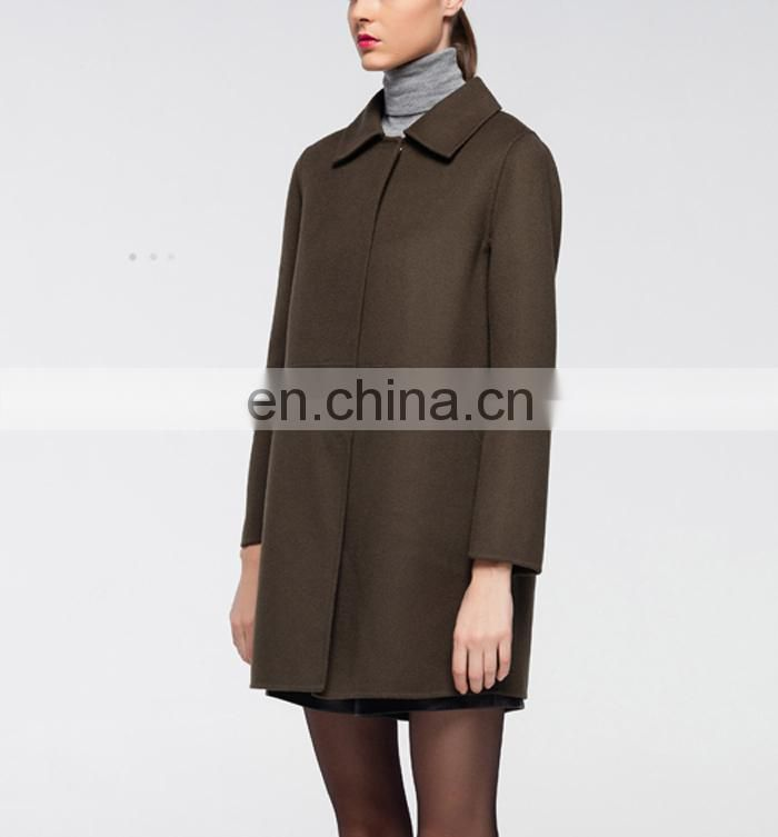 2017Latest Woolen Loose Cloth Casual Wear Combat Color Woolen Coat For Women