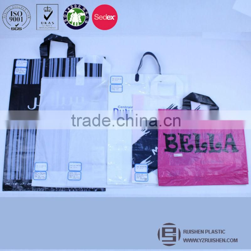 Stand Up Shopping Bag PE, Square Bottom Gusset Shopping Bag, Loop Handle Bag Customized Logo