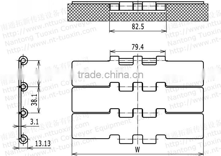 802-K750 Straight Run Double Hinge Steel TableTop Chain