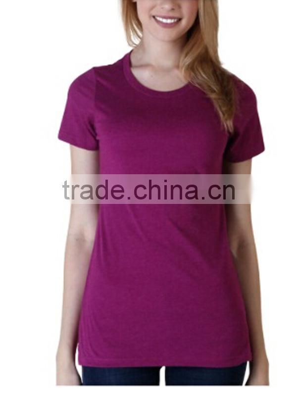 Ladies Claret-red T-shirt With Short Sleeve V-neck 100 % Cotton