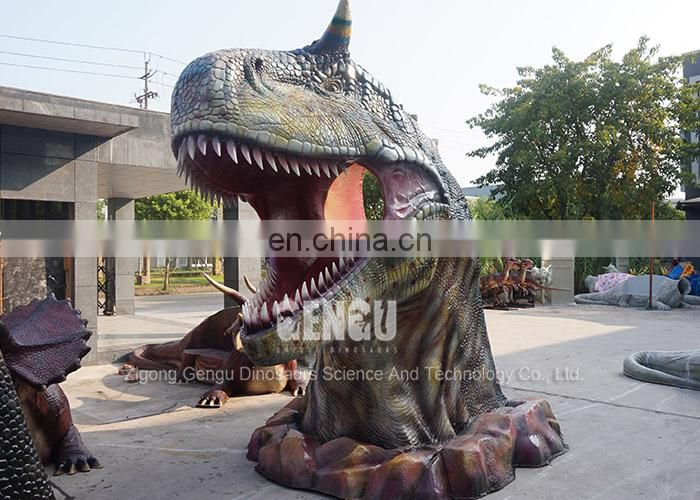 Outdoor Park Fiberglass Dinosaur Head Model For Sale