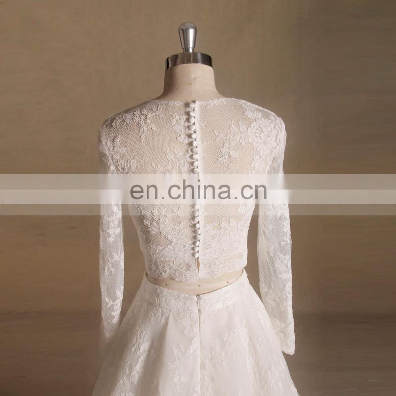 Stunning Design Long Sleeve Soft Lace Lies A-line Wedding Dress With Chapel Train