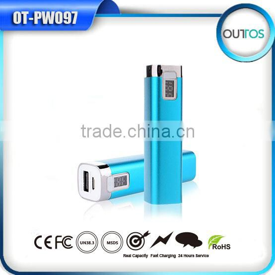 HOT aluminium advertising power bank 2600mah with LCD display