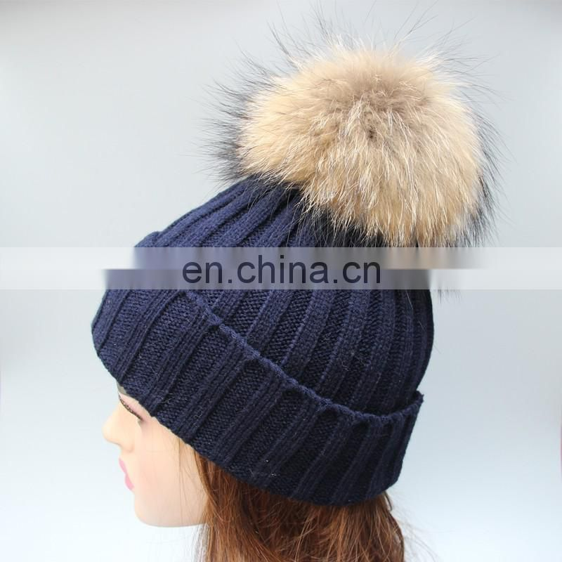 Jumbo raccoon fur bobble girl beanies navy winter top knitted beanies