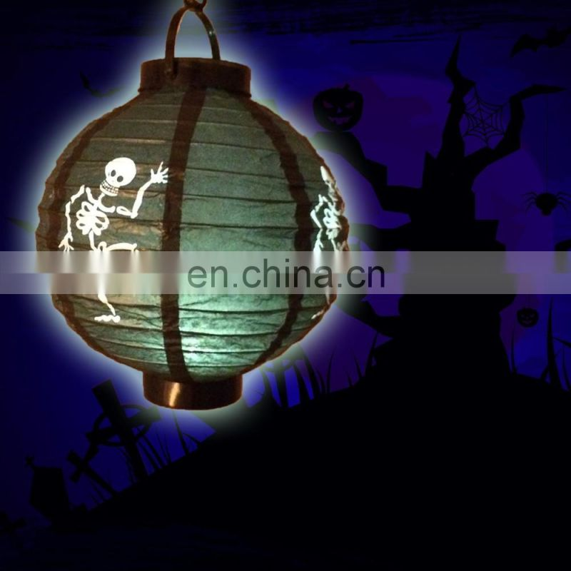 Halloween decoration Paper Lanterns with LED Light spider skull
