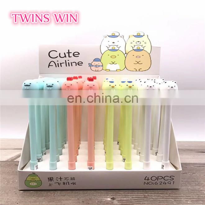 Factory selling Cheap cost Office kawaii stationery Best Fancy animal design erasable glitter gel pen free samples