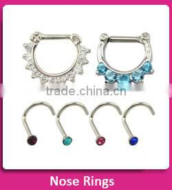Five Gem Pink and Clear Septum Clicker 316L Surgical Steel septum nose ring nipple ring body piercing jewelry