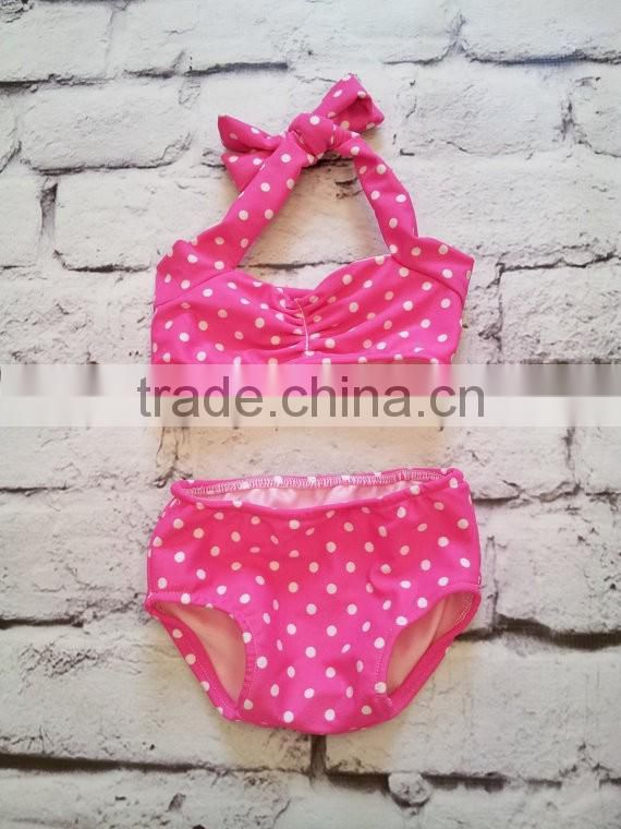 Children kids knit bikini beachwear swimwear 2016 high waist solid color polka dot swimsuit bathing suit