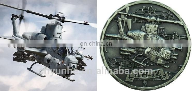 Helicopter Shaped Military Coins