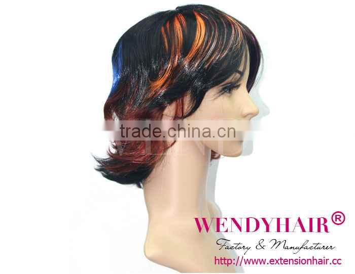 Colorful highlights for dark hair medium hairstyles synthetic wig
