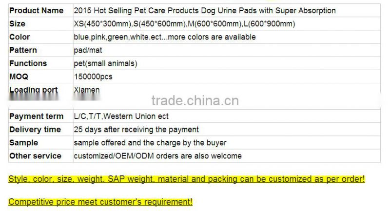 factory price Dogs Application and Pet Training Products Type puppy training pad MADE IN CHINA