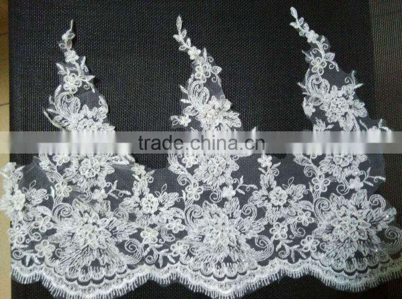 /border trimming lace/drapery lace/knitting eyelet lace trim/guipure lace trim polyester sequin scollop mesh trim,mesh trim