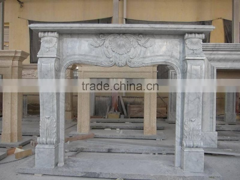 White Italian bianco Carrara white Marble Fireplace Mantel