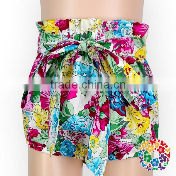 2017 hot sell kids summer clothes bubble ruffle waist tie bow baby bloomers