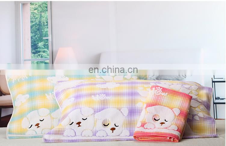 gaoyang towels Grid yarn dyed face towels cartoon 100% cotton pillow towels75*52cm 175g