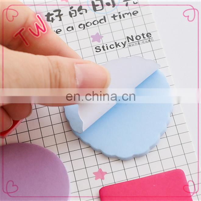 Hot sale custom logo printing cute korean stationery items for schools kids popular colorful paper letter shaped sticky notes