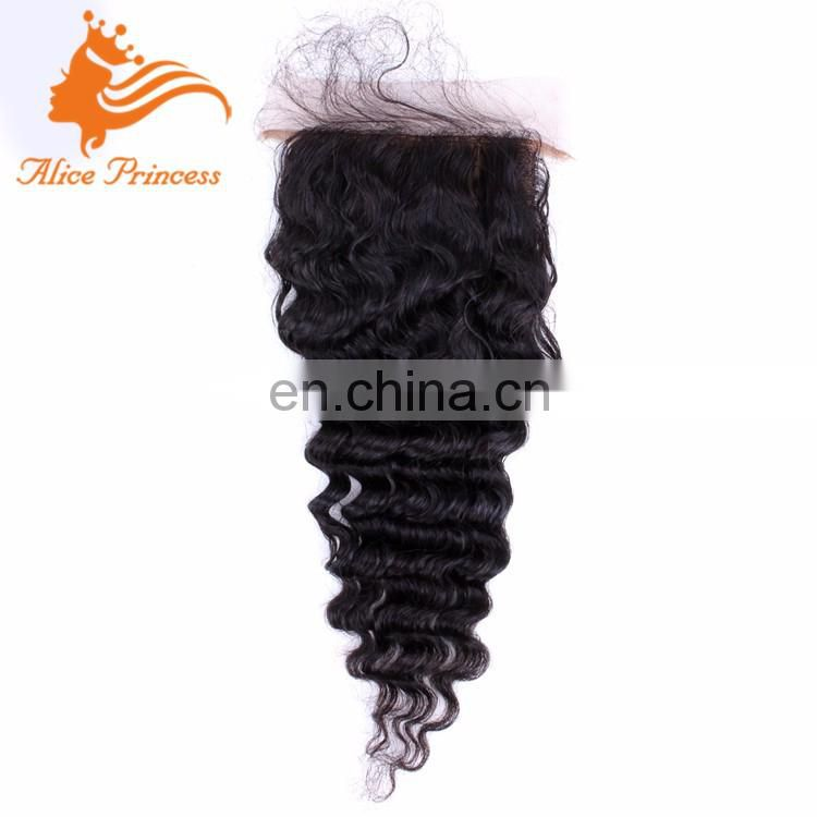 7A Brazilian Virgin Hair Deep Wave Silk Base Closure Free Middle 3 Part Human Lace Closure Deep Wave Silk Closure