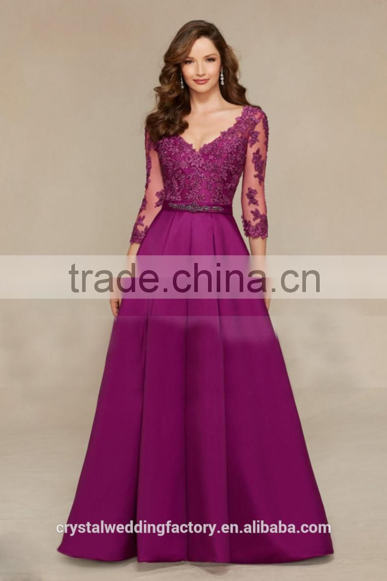 Alibaba Elegant Long New Designer A Line Satin Lace Prom Dresses With Long SleeveLP01