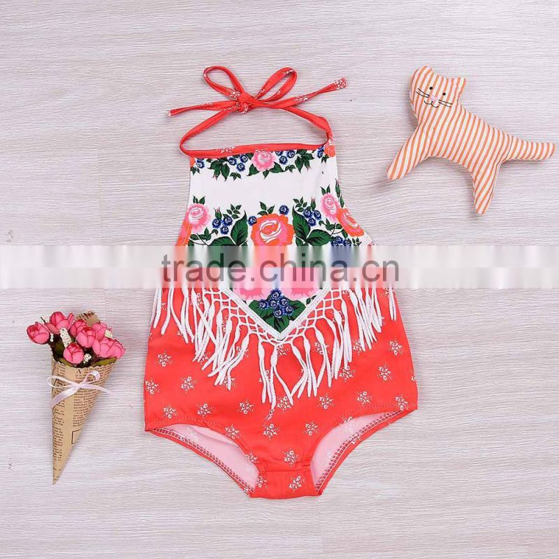 S60672B 2017 Floral Newborn Baby Girls Sleeveless Tassel Backless Romper Jumpsuit One-Pieces Outfits