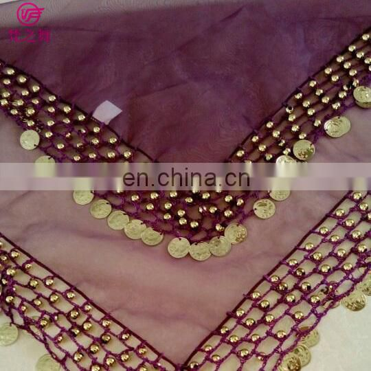 Arabic organza retangal 50*50cm belly dance veil scarf with handmade siver and gold coins P-9037