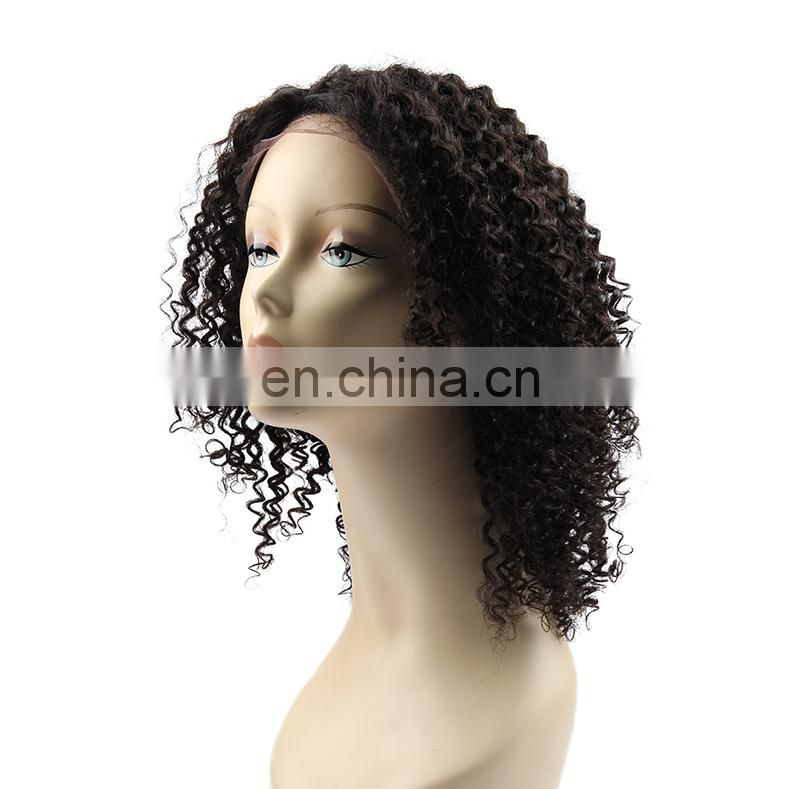 Natural black color curly human hair lace wigs