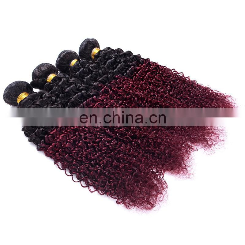 hot sale curly human 100% human hair extension ombre color 1b/99J remy weave tangle free