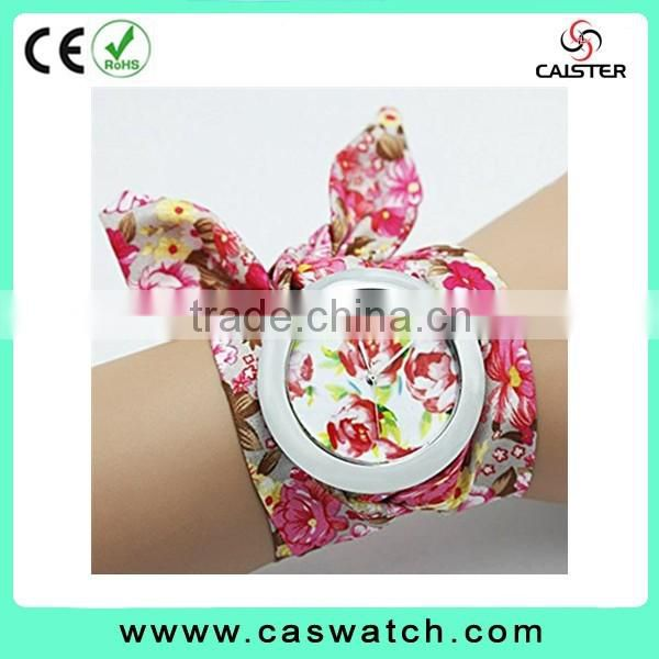 2016 most hot-selling charming floral ribbon watch, flowery face lady watch, colorful fabric ribbon quartz watch