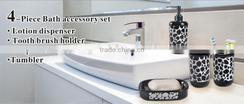 Top Quality Plastic Bath Accessory Set With Lotion Dispenser ,Tooth Brush holder ,Soap Dish and Tumbler