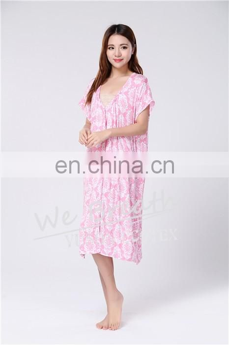 Bamboo fiber pajama button sleep dress for ladies short sleeves