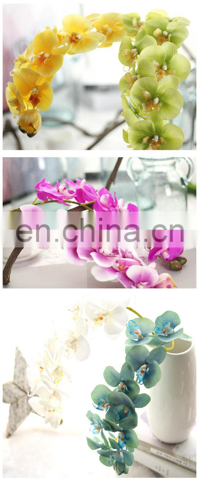 LATEX 72cm length Artificial Butterfly Orchid Flower Plant Home Wedding Party Decor real touch orchid flower