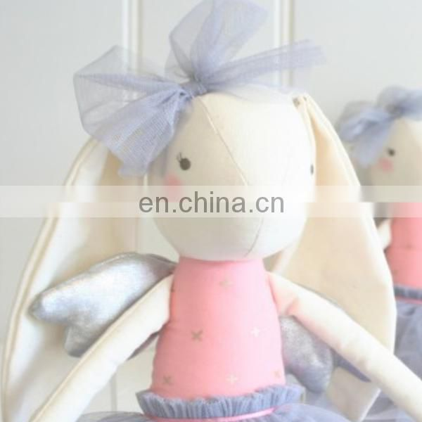 Ballerina rag doll , cat and bunny wearing a tutu , soft minky fabric cloth rag doll angelina