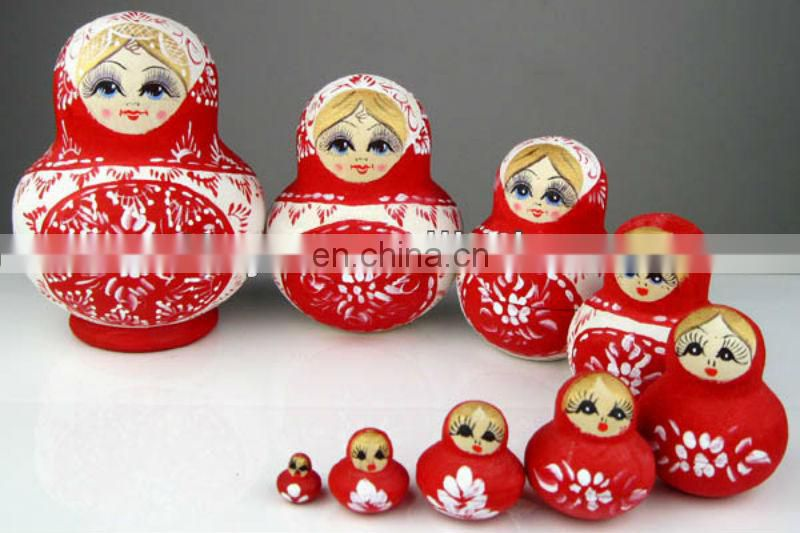 Hand painted wooden nesting russian matryoshka doll