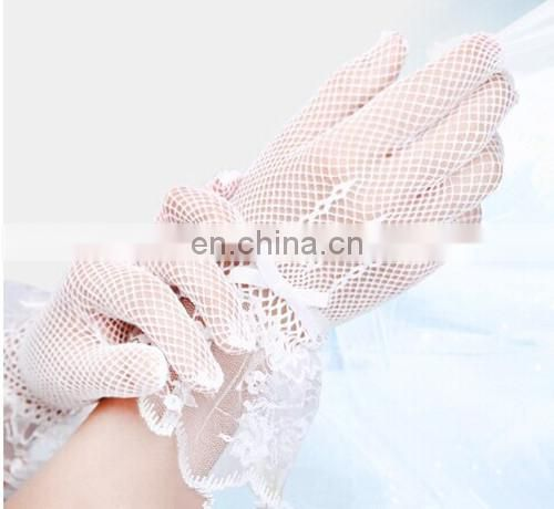 Hot Sell Nylon Black Fishnet Wrist Length White Wedding Gloves Driving Bridal Gloves With Lace Work Ribbon Bows