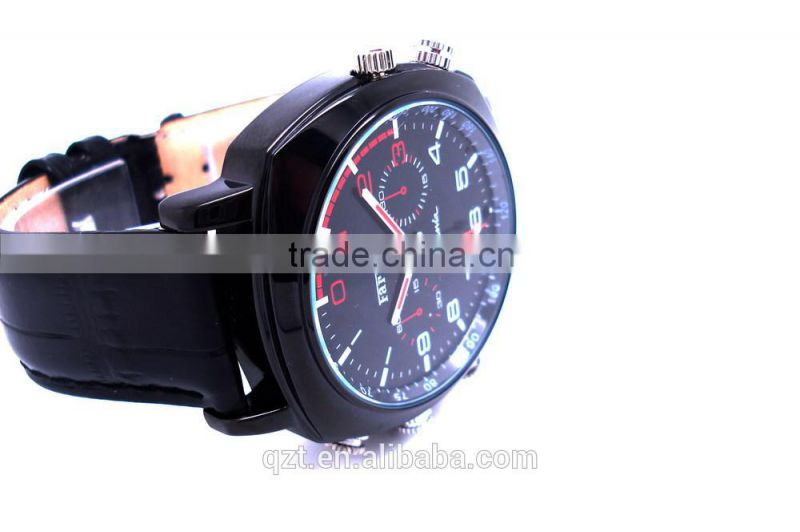 HD video recorder hidden cam waterproof design black Leather wrist watch camera